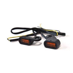 Richtingaanwijzers | Stuurmontage | LED | Zwart | Amber Glas